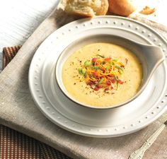 Bacon Cheddar Potato Soup Ingredients 2 cups (480 ml) milk 2 (450 g) medium russet potatoes, baked 0.33 cup (40 g) shredded, low fat cheddar cheese 1/4 (18 g) small onion, chopped, sautéed in 1 Tablespoon olive oil 1/2 teaspoon dried dill weed 1/2 teaspoon dried rosemary 1/2 teaspoon salt 2 ounces (55 g) bacon, cooked, crumbled