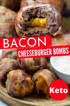 Bacon Cheeseburger Bombs are a keto approved recipe that is loaded with flavor. Juicy burger with a cheesy center, wrapped in bacon. Cook these up for dinner or a game day appetizer. Bacon Cheeseburger Bombs, Bacon Bombs, Game Day Appetizers, Meat Appetizers, Christmas Appetizers, Bacon Wrapped Burger, Beef Recipes, Cooking Recipes, Cooking Videos