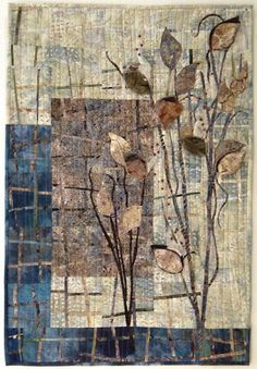 Neutrals and blues reminiscent of a late October day. l_milkweed_pods. my panel might work for this Fiber Art Quilts, Embroidery Leaf, Tree Quilt, Quilt Art, Japanese Quilts, Flower Quilts, Textiles, Landscape Quilts, Contemporary Quilts
