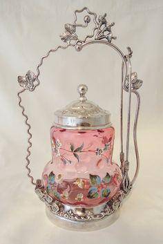 Antique Enameled Glass Pickle Castor with Sterling Silver Stand Bottles And Jars, Glass Jars, Milk Glass, Vintage Pink, Vintage Decor, Vintage Style, Motifs Art Nouveau, Pickle Jars, Cranberry Glass