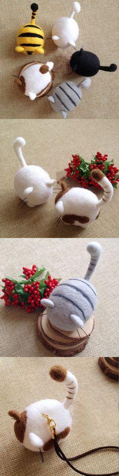 Handmade needle felted felting cute animal project cat kitten doll toy