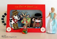 """Sandy Diller using the Pop it Ups Cocoa the Horse, William the Goat, Chilly the Penguin, Props 1, Props 6 and more by Karen Burniston for Elizabeth Craft Designs. - My """"Crafty"""" Life on the Internet: Characters in Costume"""