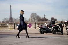 Street Style: Over 150 Wildly Stylish Looks From Paris Fashion Week--love the fuchsia bag...pop of color