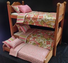 Bohemian Bunk Beds With Trundle For The 18 In American Girl Doll