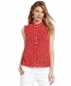 Sleeveless polka dot button front top petite tops women macy s