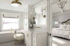 Zawadski Homes - Dream Home. Luxurious master suite with gold fixtures and lots of windows. Custom Home Builders, Custom Homes, Dream Home Builder, Lots Of Windows, White Bathroom, Master Suite, Double Vanity, Home Projects, Luxury Homes