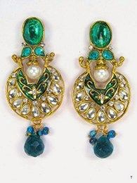 Green Stones Attractive Gold Plating Earrings