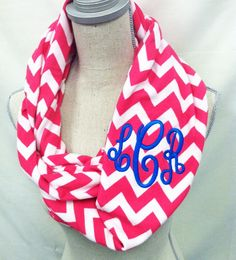 Monogrammed Infinity Scarf Chevron scarf by TwoBroadsApparel