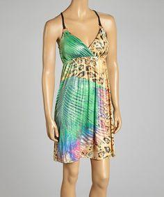 Loving this Green Leopard Sleeveless Surplice Dress on #zulily! #zulilyfinds