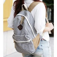 Cool! Fresh Striped School Rucksack Stripe Lace College Canvas Backpack just $29.99 from ByGoods.com! I can't wait to get it!