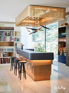 Interior design project by studio a.s.h. Villa Design, Bar Areas, Modern Classic, Ash, Living Spaces, Interior Design, Studio, Table, House