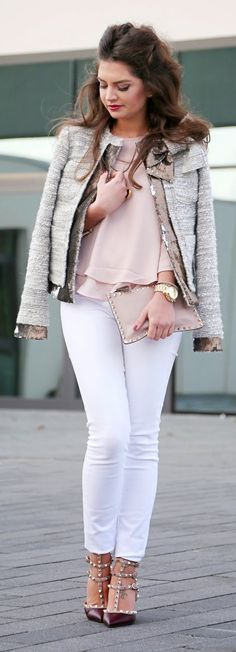Fashion Hippie Loves - Grey Tweed Jacket with White Skinny Jeans and Fall Accessories