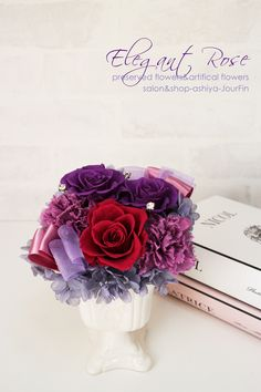 『Elegant Rose 』母の日アレンジ🌸パープルとカシス色のローズにラベンダーのカーネーション🌸『Jour Fin』Preserved flower and artificial flower salon&shop in ashiya JAPAN http://jourfin.shopinfo.jp/ オンラインショップhttp://jourfin.com ブログhttp://ameblo.jp/jourfin