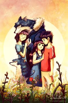 Fairy Tale of Hana, Ookami, Yuki and Sohei from Wolf Children Anime Furry, Anime Wolf, Wolf Children Ame, Japanese Animated Movies, Familia Anime, Cute Animal Drawings, Manga, Anime Style, Furry Art