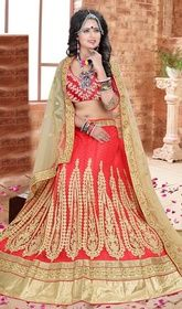 Choli Skirt in Red and Beige Color Embroidered Silk #weddinglenghacholi #stitchedlehengacholi Surround yourself with endless compliments dressed in this choli skirt in red and beige color embroidered silk. Beautified with lace, stones and resham work. Upon request we can make round front/back neck and short 6 inches sleeves regular lehenga blouse also.  USD $ 209 (Around £ 144 & Euro 159)