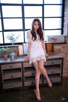 Ju Da Ha white lace dress studio photoshoot