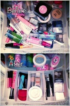 Makeup organization the easier DIY u will ever do!! If u use an extra silver ware organizer from the kitchen, and put all your makeup in there, its so perfect u should really try!!