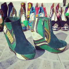 Green african print customised boots