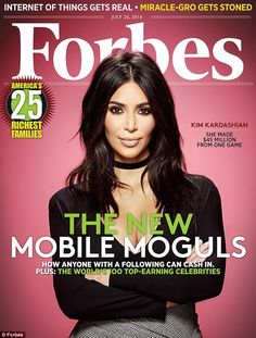 'My Dad would be so proud': Kim Kardashian opens about being a mobile mogul in the new issue of Forbes as she's listed at no. 42 on the annual list of top 100 celebrity earners