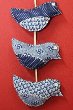 Shweshwe Love Birds | Di van Niekerk Fabric Christmas Ornaments, Christmas Stockings, African Christmas, Shweshwe Dresses, Waldorf Crafts, Sewing To Sell, Country Crafts, Sewing Toys, African Fabric