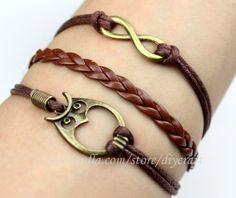 Infinity wish-charm owl bracelet-brown wax cords & braided