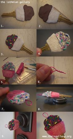 dont really care about the cupcake but twisting wire would be a good way to make sure it stays in clay Wire Crafts, Crafts To Do, Sugru Mouldable Glue, Paint Keys, Cupcakes, Biscuit, Bottle Cap Images, Clay Miniatures, Clay Tutorials