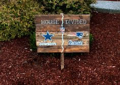 Rustic Large House Divided Reclaimed Pallet Wood sign Double Sports Team Football yard decor custom personalized by WehuntWoodDecor on Etsy https://www.etsy.com/listing/207312558/rustic-large-house-divided-reclaimed