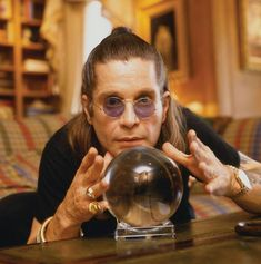 Ozzy and the Crystal Ball! Ozzy Osbourne Quotes, Birmingham, Ozzy Osbourne Black Sabbath, Gus G, Metal Horns, Black Label Society, Steve Perry, I Have A Crush, Rock Legends