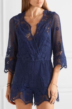 Miguelina - Greta Crocheted Cotton-lace Playsuit - Storm blue - medium