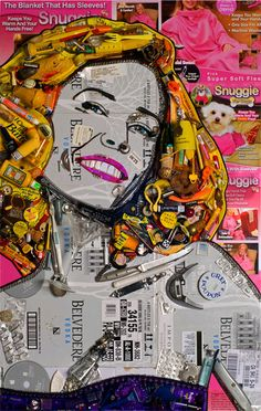 Chelsea Handler made out of vodka and birth control pills.  So fitting for Chels.  Who thinks of this stuff? Latest Celebrity Gossip, Celebrity News, Mosaic Portrait, Chelsea Handler, Trash Art, Portrait Pictures, Collage Making, Celebrity Portraits, Gcse Art