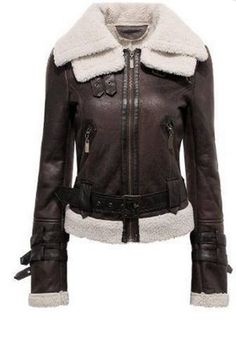 Brown Faux Leather Shearling Collar Moto Style Biker Jacket!