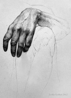 Zsófia Gyükér, hand study academic pencil drawing, 2012. zsofiagyuker.deviantart.com