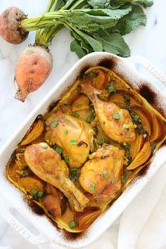 Turmeric Braised Chicken with Golden Beets and Leeks   Skinnytaste