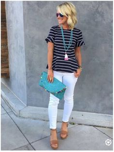 **** Loving this entire outfit! Such a cute combination with navy and white stripes. Love the pop of teal with the hand bag and great accessories.