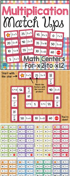 These multiplication dominoes are a great way to practice math facts and build fluency! Includes sets for x2 through x12. Can be played alone or as a cooperative game. Perfect for math centers in 2nd or 3rd grade!