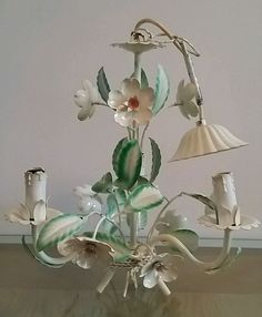VINTAGE FRENCH TOLEWARE 6 LIGHTS CHANDELIER  FLOWERS & LEAVES