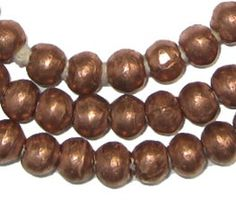 Ethiopian Copper Round African Trade Beads - African Metal Beads - Round Copper Beads - African Beads - Made in Ethiopia (MET-RND-CPR-201)