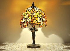 Table lamp  8 shade hand made of stained glass by AmberGlassArt, $373.00