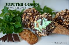 Jupiter Cone Mint Chip Cookie | Big Bang Bites | bigbangbites.com | These mint chip drumstick ice cream cones are loaded with chocolate chip cookies, fudge, and mint chocolates, coated with chocolate and topped with peanuts.