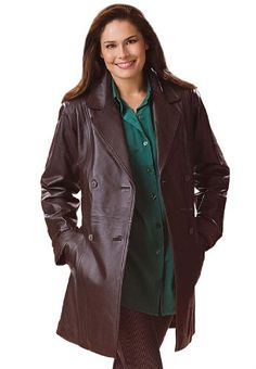 Woman Within Plus Size Jacket In Leather With Pleat Back A-Line