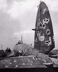 A bad day for a Heinkel He111 and its crew.