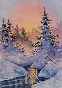 Winter Painting - Winter Filigree by Teresa Ascone Watercolor Landscape, Landscape Art, Landscape Paintings, Watercolor Paintings, Landscapes, Watercolours, Winter Painting, Winter Art, Rain Painting