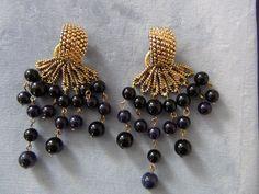 SemiPrecious Black Onyx And Dark Blue Sodalite by RexyRageous, $20.00
