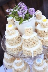 Instead of cupcakes, small rice krispie wedding cakes would be fun (and delicious)!