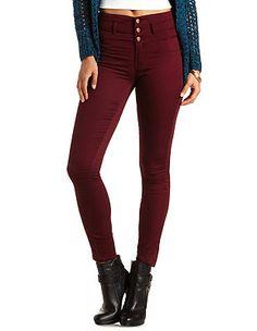 "Refuge ""Hi-Waist Super Skinny"" Colored Jeans: Charlotte Russe - http://AmericasMall.com/categories/womens-wear.html"