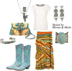 Turquoise: Color of the Month on Horses & Heels featuring items from @R Ojeda RANCH