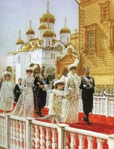 The picture that repeats the famous photo of Nikolay II, Alexandra, Sergey Alexandrovich, others in the day of the 300th Anniversary of the House of Romanovs in Russia.