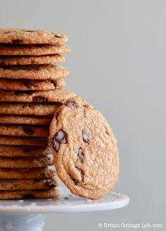 Chocolate Chip Cookies | Urban Cottage Life Thin Chocolate Chip Cookies, Chocolate Chip Recipes, Biscuit Cookies, Cupcake Cookies, Cupcakes, Big Cookie, Ghirardelli Chocolate, Urban Cottage, Dessert For Dinner
