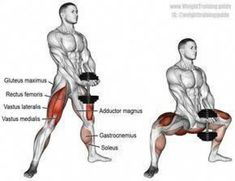 Dumbbell Sumo Squat exercise instructions and video Yoga & Fitness - Abs Workout Best Dumbbell Exercises, Dumbbell Squat, Sumo Squats, Gym Workout Tips, Dumbbell Workout, Squat Exercise, Weight Exercises, Kettlebell Cardio, Workout Memes