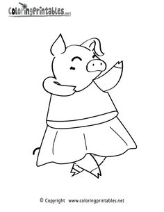 Dancing Pig Coloring Page - A Free Animal Coloring Printable Animal Coloring Pages, Coloring Pages To Print, Coloring Pages For Kids, 3rd Birthday, Birthday Ideas, Flying Pig, Printables, Printable Worksheets, Little Pigs